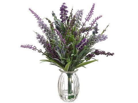 """11"""" Lavender in Glass Vase Purple Lavender"""