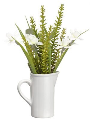 "11.75"" Narcissus/Eucalyptus in Ceramic Pitcher White Green"