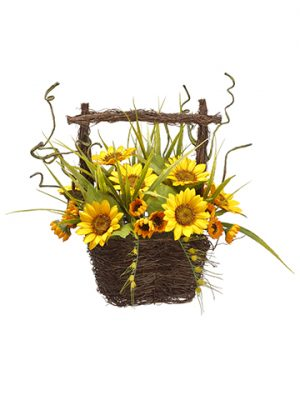 "13"" Sunflower in Basket Yellow"