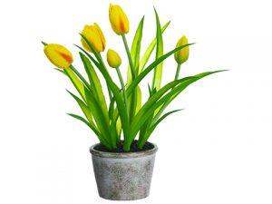 """13"""" Tulip in Paper Mache Pot Yellow"""