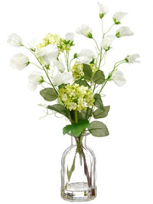 "15"" Sweet Pea/Snowball in Glass Vase Green White"