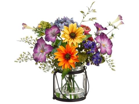 "11"" Daisy/Ranunculus/MorningGlory in Glass VaseMixed"