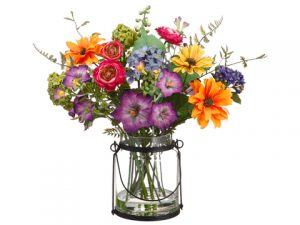 "14"" Daisy/Ranunculus/Morning Glory in Glass Vase Mixed"