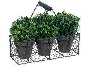 "9.75"" Boxwood Ball-ShapedTopiary in Paper Mache Pot x3w/Metal Basket Green"