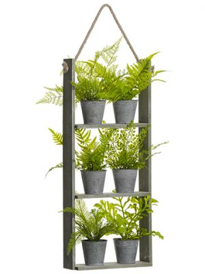 "29"" Potted Fern x6 in Hanging Wood Shelf Green"