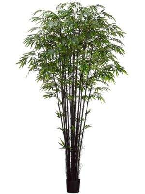 8' Natural Black Bamboo Treex17 with 3040 Leaves in PotTwo Tone Green