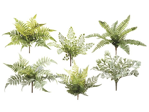 "12"" Fern Pick Assortment (6 ea/set) Green Gray"