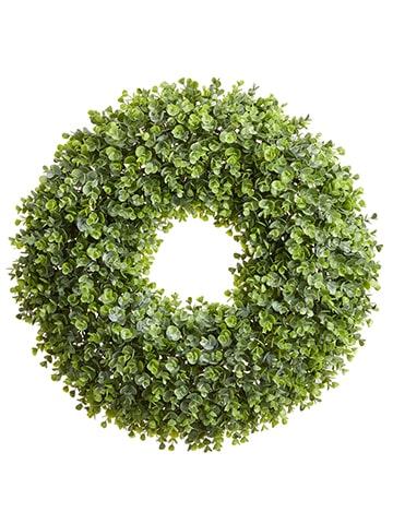 "25"" Plastic Eucalyptus Wreath Green"
