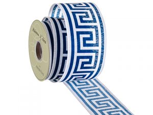"""2.5""""W x 10yd Ribbon Blue White"""