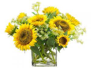 "15""H x 16""W x 18""LSunflower/Queen Anne's Lacein Glass Vase Yellow"
