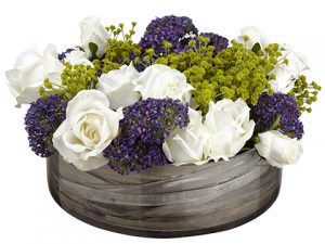 "8"" Rose/Queen Anne's Lace/Grass In Glass ContainerWhhite Purple"