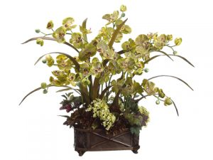 "31""H x 29""W x 32""L Phalaenopsis/Hydrangea in Resin Container Green Burgundy"