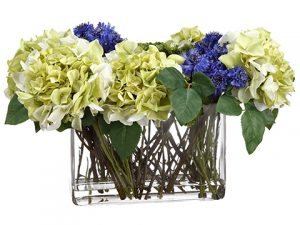 "13""H x 12""W x 21""L Hydrangea/Cornflower/Sedum in Glass Vase Green Blue"