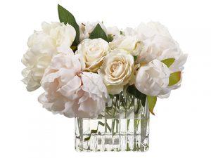 "9""H x 11""W x 12""L Peony/Rose inGlass VaseWhite"
