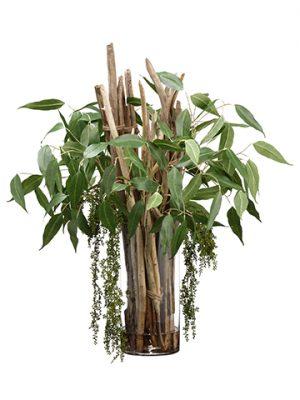 "40""H x 35""W x 35""LEucalyptus/Drift Wood inCylinder Glass Vase Green"