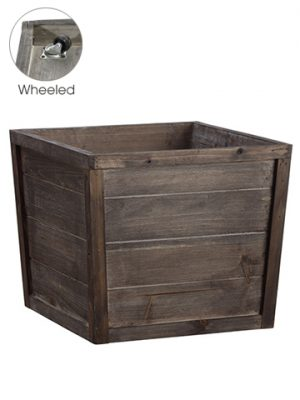 "11.5""H x 13.5""W x 13.5""L Wood Planter With Wheels Brown"