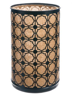 "12""H x 8""D Metal/Jute Hurricane w/Glass Candleholder Black Brown"
