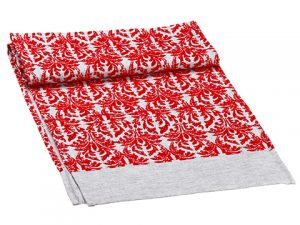 "14""W x 72""L Damask Flocked Table Runner Red Gray"