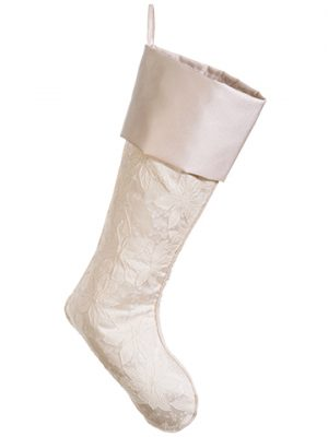 "22"" Poinsettia Jacquard Stocking Ivory"