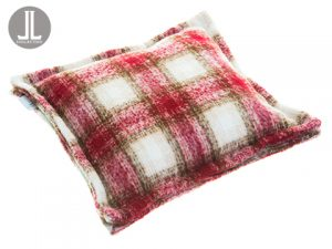 "15.5""W x 15.5""L Plaid Pillow Burgundy Beige"