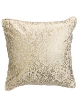 "16""W x 16""L Christmas MotifCanvas PillowGold Cream"
