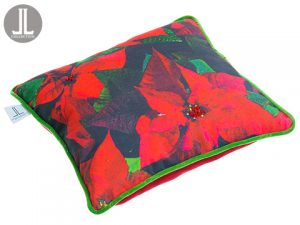 "16""W x 16""L Poinsettia Velvet Pillow Red Green"
