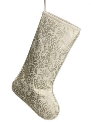 "22"" Christmas Motif Canvas Stocking Gold Cream"