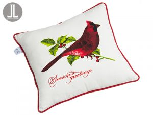 "18""W x 18""L Season's Greetings Cardinal Pillow Red Beige"