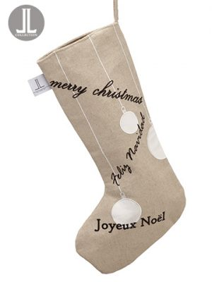 "22"" Merry Christmas Stocking Beige Jute"