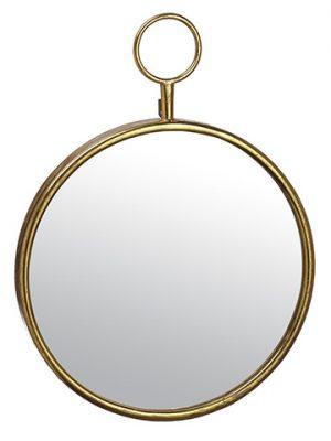 """21.5"""" Metal Hanging Mirror Gold"""