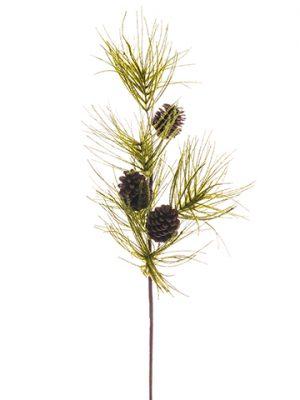 "38"" Flocked Long Needle PineSpray w/Pine ConeGreen"