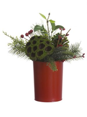 "8"" Berry/Mistletoe/Cone/PineArrangement in Tin PotRed Green"