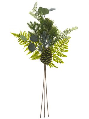 "30"" Cone/Fern/Eucalyptus/Pine Spray Two Tone Green"
