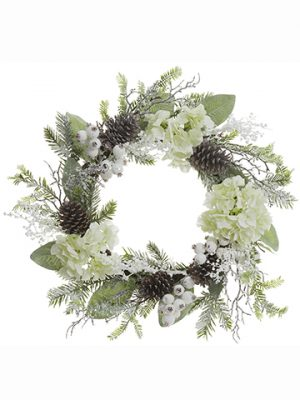 "24"" Glittered Hydrangea/Cone/Pine WreathWhite Ice"