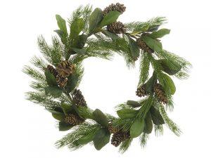 "34"" Magnolia Leaf/PineCone/Pine WreathGreen"