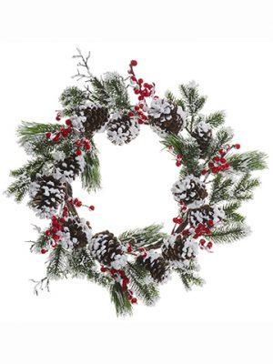 "24"" Snowed Berry/PineCone/Pine WreathRed White"