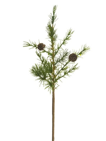 """17"""" Pine Pick With Pine Cones Green"""