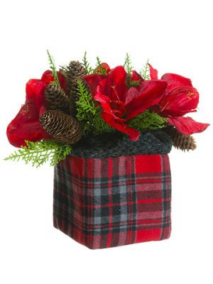 "11"" Amaryllis/Hydrangea/Pine Cone in Plaid Bag Red Green"