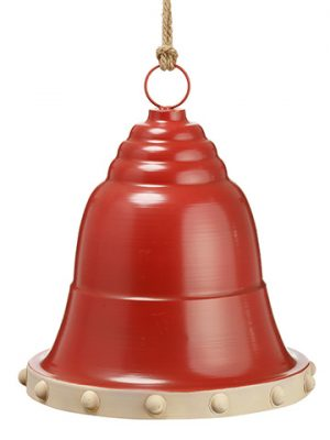 "15""H x 13""D Metal Bell Ornament Red Cream"