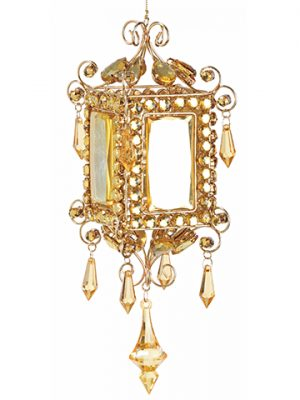 "10.5"" Rhinestone Lantern Ornament Gold"