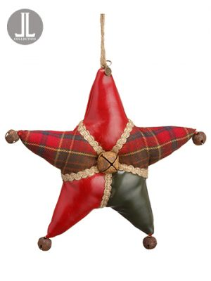 "9"" Plaid Star Ornament Red Green"