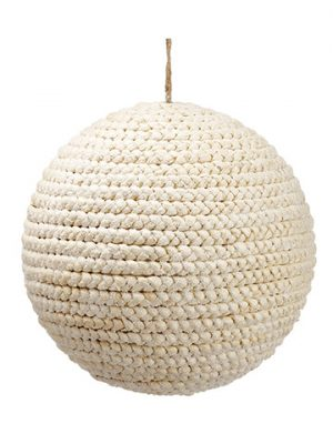 "10"" Snowed Raffia Braid Ball Ornament Natural Snow"