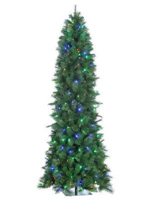 "7.5'Hx38""D Scotch Pine SlimTree x1213 w/384 ChangeableLED Multi Color Lights (MS) Gr"