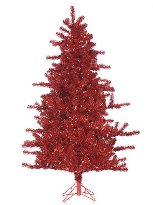 """6'Hx49"""" Noble Fir Tree x817With 450 Smart Clear Lightson Metal Base Red"""