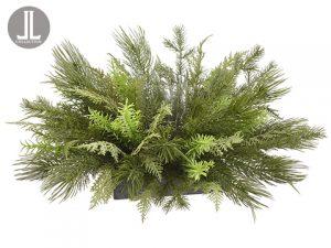 """7.5""""H x 20""""D Mixed PineCenterpiece With GlassCandleholder Green"""