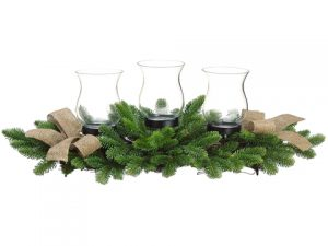 "11""H x 27""L Pine Centerpiece w/Glass Candleholder x3 Green"