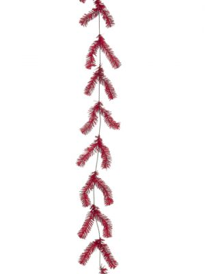 10' Pine Work Garland x44 Red