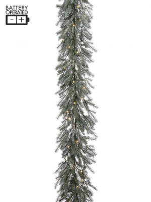 "126"" Battery Operated Pine Garland With 50 LED Light Green Gray"