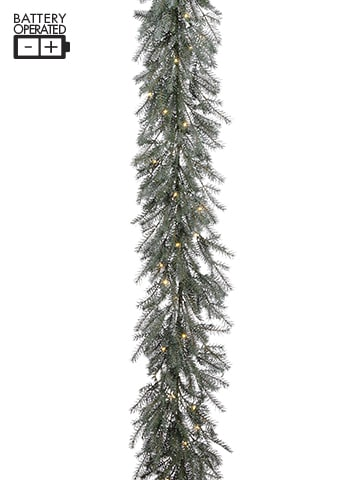 """126"""" Battery Operated PineGarland With 50 LED LightGreen Gray"""