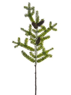 "35"" Glittered Spruce Pine Spray With Pine Cone Green"